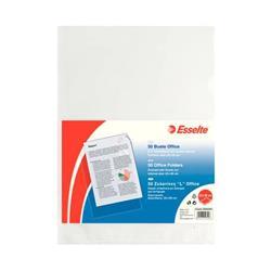 Buste a L Office Esselte - non perforate - A4 - 22x30 cm - goffrata - spessore medio - trasparente - conf. 50