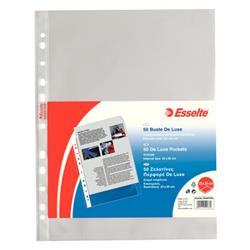 Buste a foratura universale Deluxe Esselte - A4 - 22x30 cm - goffrata - spessore alto - trasparente - conf. 50