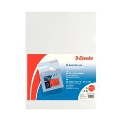 Buste a L Deluxe Esselte - non perforate - A4 - 22x30 cm - liscia - spessore alto - trasparente - conf. 50