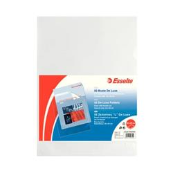 Buste a L Deluxe Esselte - non perforate - A4 - 22x30 cm - goffrata - spessore alto - trasparente - conf. 50